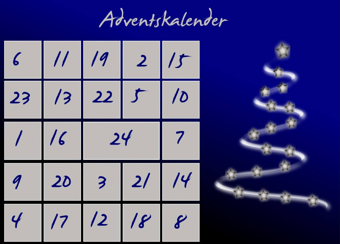 Vorlage Advents-Lobekalender für den Partner
