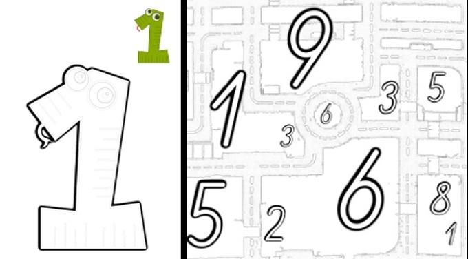 Vorlage zum Ausdrucken: Zahlen (nach-)malen