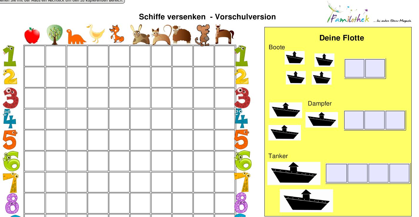 Beliebt Spielvorlagen Schiffe versenken - Familothek YQ22